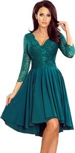 Niebieska sukienka NUMOCO asymetryczna z długim rękawem z dekoltem w kształcie litery v