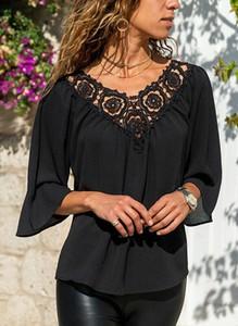 Czarna bluzka Sandbella w stylu boho z długim rękawem