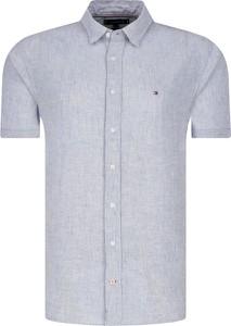 Niebieska koszula Tommy Hilfiger z lnu w stylu casual