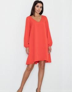 Pomarańczowa sukienka Figl trapezowa