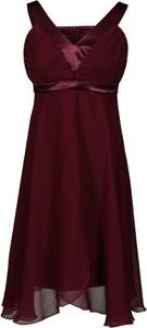 Czerwona sukienka Fokus midi rozkloszowana z szyfonu
