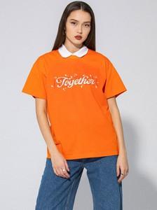 Pomarańczowa bluzka LOCAL HEROES z krótkim rękawem