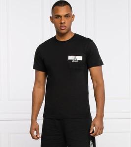 Czarny t-shirt Calvin Klein z bawełny z krótkim rękawem