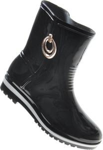 Czarne kalosze Pantofelek24 z płaską podeszwą