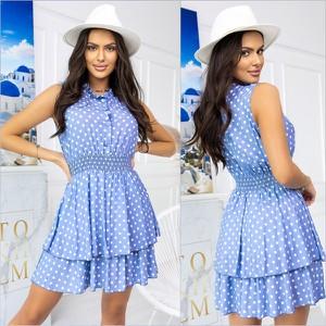 Niebieska sukienka ESCOLI z okrągłym dekoltem mini rozkloszowana