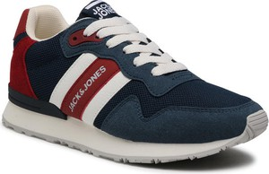 Granatowe buty sportowe Jack & Jones sznurowane z płaską podeszwą