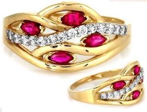 Lovrin Złoty pierścionek 585 cyrkonie łezki różowe 2,48 g