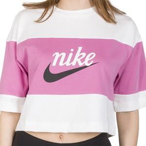 Bluzka Nike z okrągłym dekoltem z bawełny