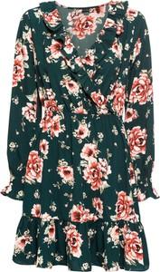 Sukienka bonprix BODYFLIRT z dekoltem w kształcie litery v midi z długim rękawem