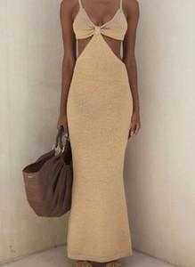 Sukienka Sandbella w stylu casual maxi z dekoltem w kształcie litery v