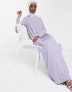 Fioletowa sukienka Asos koszulowa maxi