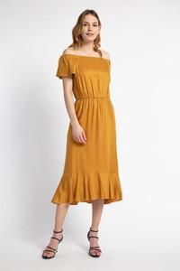 Żółta sukienka Cotton Club z krótkim rękawem