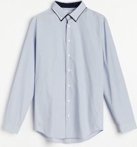 Niebieska koszula Reserved w stylu casual z długim rękawem z klasycznym kołnierzykiem