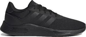 Czarne buty sportowe Adidas z płaską podeszwą w sportowym stylu sznurowane