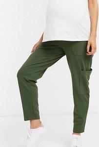 ASOS DESIGN Maternity – Spodnie typu peg w stylu utility z dżersejowego diagonalu z kieszeniami z tkaniny-Zielony