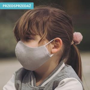 UlubionaMaseczka.pl Lniana dziecięca maseczka ochronna wielorazowa ergonomiczny kształt szara Dziecko