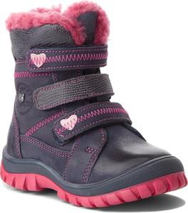 Granatowe buty dziecięce zimowe Lasocki Kids ze skóry na rzepy