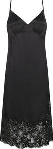 Czarna sukienka Michael Kors z dekoltem w kształcie litery v prosta