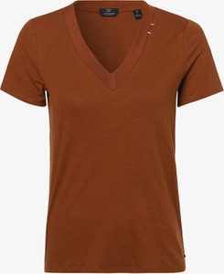 Brązowy t-shirt Scotch & Soda z dżerseju z dekoltem w kształcie litery v z krótkim rękawem