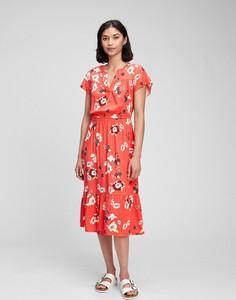 Czerwona sukienka Gap z krótkim rękawem midi