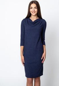 Granatowa sukienka QUIOSQUE z długim rękawem w stylu casual