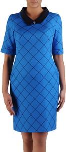 Niebieska sukienka POLSKA z krótkim rękawem