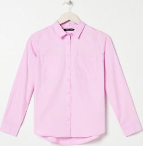 Różowa koszula Sinsay z długim rękawem z kołnierzykiem