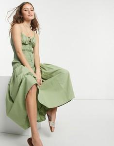 Sukienka Asos z bawełny gorsetowa z dekoltem w kształcie litery v