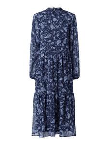 Granatowa sukienka Vila z szyfonu z długim rękawem koszulowa