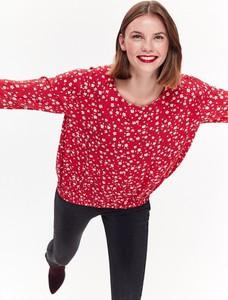 Czerwona bluzka Top Secret z okrągłym dekoltem w stylu boho