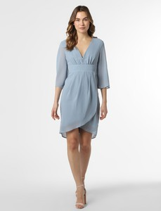 Niebieska sukienka Vila z szyfonu asymetryczna z długim rękawem