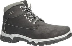 Czarne buty zimowe Casu sznurowane w stylu casual