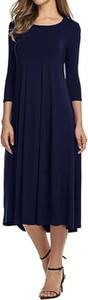 Niebieska sukienka Cikelly midi z okrągłym dekoltem