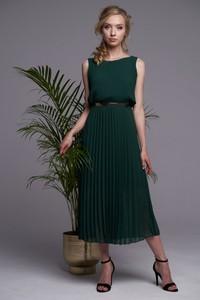 Zielona sukienka Ella Boutique bez rękawów z okrągłym dekoltem