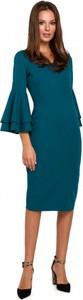 Sukienka Makover z długim rękawem z dekoltem w kształcie litery v