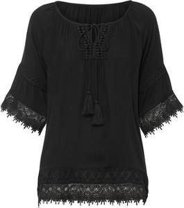 Czarna bluzka bonprix z okrągłym dekoltem z długim rękawem