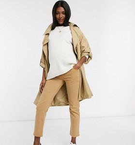 ASOS DESIGN Maternity – Jasnobrązowe dopasowane jeansy z prostymi nogawkami, wysokim stanem i wstawką zasłaniającą brzuch-Jasnobrązowy