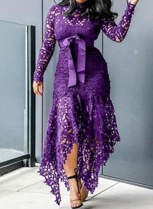 Fioletowa sukienka Cikelly z dekoltem w kształcie litery v z długim rękawem maxi