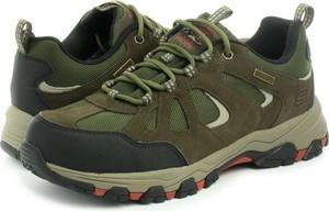 Zielone buty trekkingowe Skechers z zamszu sznurowane