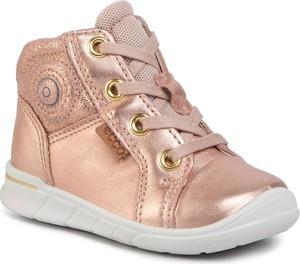 Złote buty dziecięce zimowe Ecco z zamszu sznurowane