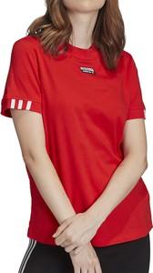 Czerwona bluzka Adidas z bawełny