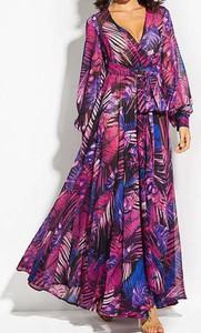 Fioletowa sukienka Arilook z długim rękawem z dekoltem w kształcie litery v