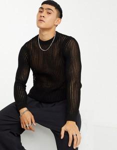 Czarny sweter Asos z dzianiny w stylu casual