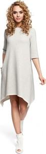 Sukienka MOE z dresówki w stylu casual asymetryczna