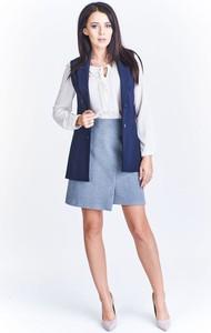 Niebieski płaszcz Fokus w stylu casual długa z bawełny