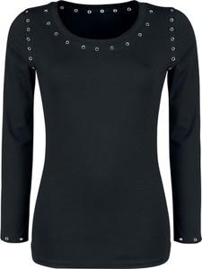 Czarna bluzka Forplay z bawełny z długim rękawem w stylu casual