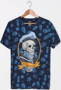 Granatowy t-shirt House z nadrukiem z krótkim rękawem
