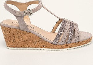 Sandały Caprice z klamrami ze skóry