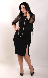 Czarna sukienka Oscar Fashion z długim rękawem z okrągłym dekoltem