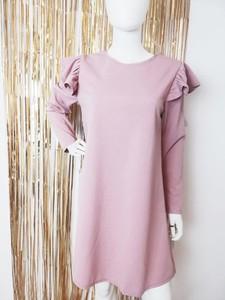 Różowa sukienka Luashop.pl mini z okrągłym dekoltem z długim rękawem